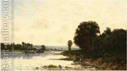 Lavandieres Et Bateaux by Hippolyte Camille Delpy - Reproduction Oil Painting