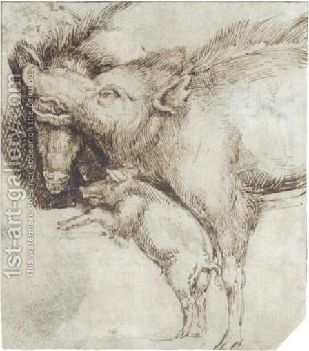 Study Of Two Swine And A Piglet by (after) Durer or Duerer, Albrecht - Reproduction Oil Painting