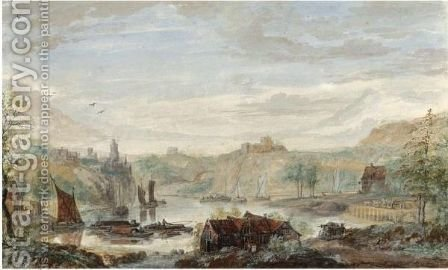 View Of The Rhine, With St. Goar And Burg Rheinfels by Abraham Rademaker - Reproduction Oil Painting