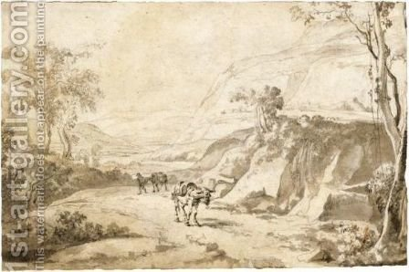 Mountainous Italianate Landscape With Two Mules On A Road by (after) Jan Both - Reproduction Oil Painting
