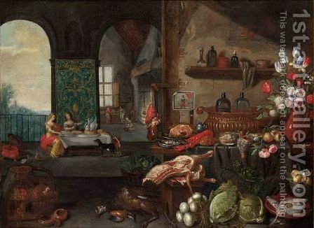 A Kitchen Still Life With A Ham And Herring On Silver Plates, A Sugar Jar, A Lobster, Bread, Pheasants, Apples, Flowers In A Vase by (after) Jan Van Kessel I - Reproduction Oil Painting