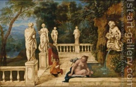 Bathsheba Receiving A Letter Announcing The Death Of Her Husband Uriah's Death, In An Architectural Capriccio With A Sculpted Fountain And A Distant Landscape by (after) Hendrik Van Balen, I - Reproduction Oil Painting