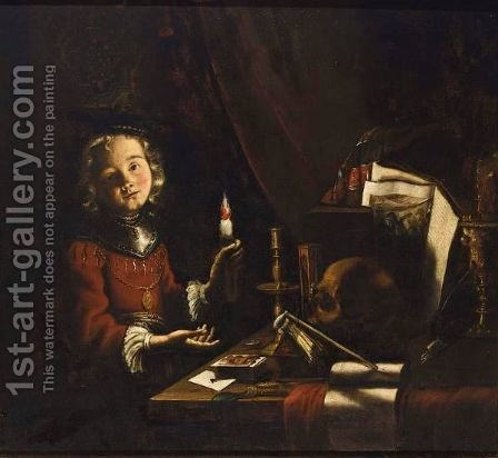 A Vanitas Still Life Of A Young Boy Holding A Candle In Front Of A Table  With Playing Cards by (after) Adam De Coster - Reproduction Oil Painting