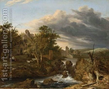 A Landscape With A Waterfall, A Farmhouse To The Left With A Shepherd And Shepherdess Resting Together With Their Flock by Haarlem School - Reproduction Oil Painting