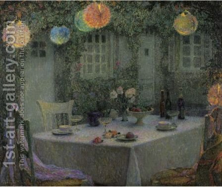 La Table Aux Lanternes, Gerberoy by Henri Eugene Augustin Le Sidaner - Reproduction Oil Painting