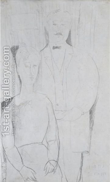 Les Maries by Amedeo Modigliani - Reproduction Oil Painting