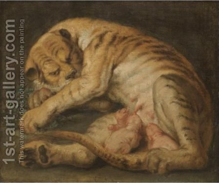 A Tigress Suckling Her Cubs by (after) Sir Peter Paul Rubens - Reproduction Oil Painting