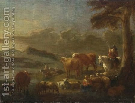 A Hilly Landscape With Peasants Watering Their Animals In A Stream by (after) Theobald Michau - Reproduction Oil Painting