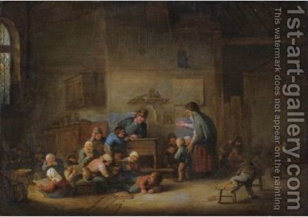 A Classroom Interior With A Mother Enrolling A New Boy To The Class by (after) Adriaen Jansz. Van Ostade - Reproduction Oil Painting