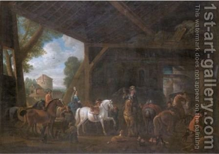 A Barn Interior With An Elegant Company Preparing For A Hunt by (after) Philips Wouwerman - Reproduction Oil Painting
