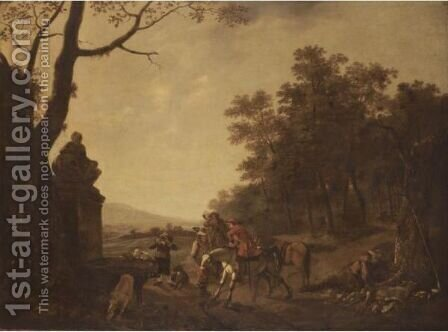 A Hunting Party Resting Beside A Fountain In A Wooded Landscape by (after) Ludolf De Jongh - Reproduction Oil Painting