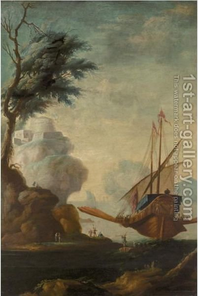 Italianate Coastal Landscape With A State Barge Before A Hill Top Fort by (after) Lorenzo A. Castro - Reproduction Oil Painting