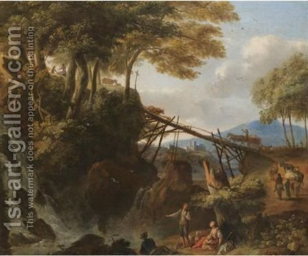 An Italianate Landscape With Figures Resting Beside A Cascade, Drovers Driving Their Animals Over A Bridge Beyond by Italo-Flemish School - Reproduction Oil Painting