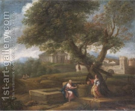 A Classical Landscape With Christ And The Woman Of Samaria by (after) Jan Frans Van Orizzonte (see Bloemen) - Reproduction Oil Painting