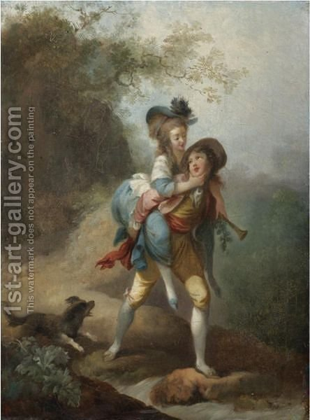 A Young Gentleman Carrying A Lady Across A Stream, A Dog Following Behind by (after) Jean-Frederic Schall - Reproduction Oil Painting
