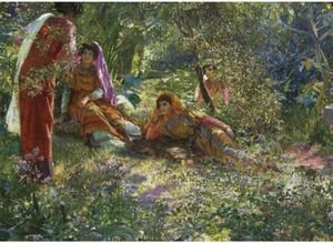 Young Women Resting In The Garden At El Biar In Algiers