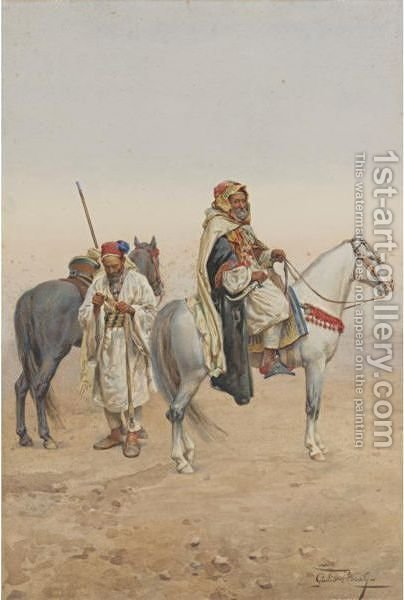 Bedouin Market by Giulio Rosati - Reproduction Oil Painting