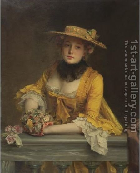The Yellow Dress by Gustave Jean Jacquet - Reproduction Oil Painting