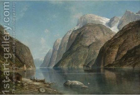 View Of A Fjord 5 by Adelsteen Normann - Reproduction Oil Painting