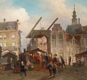 Reproduction oil paintings - Elias Pieter van Bommel - Many Figures Near A Drawbridge In A Dutch Town