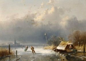 A Winter Landscape With Figures On The Ice 5