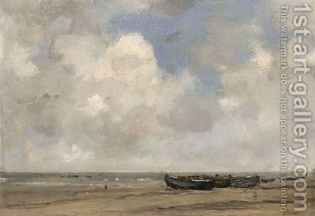 Moored Boats On Scheveningen Beach by Jacob Henricus Maris - Reproduction Oil Painting