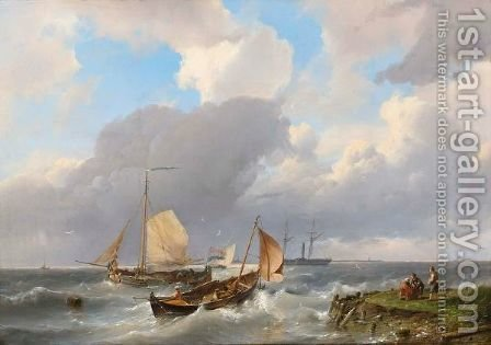 Shipping Off The Coast 2 by Hermanus Koekkoek - Reproduction Oil Painting
