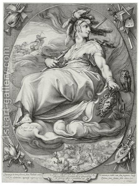 Three Deities Minerva, Venus And Juno by Hendrick Goltzius - Reproduction Oil Painting