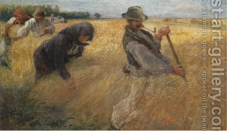 The Harvesters by Ignac Ujvary - Reproduction Oil Painting
