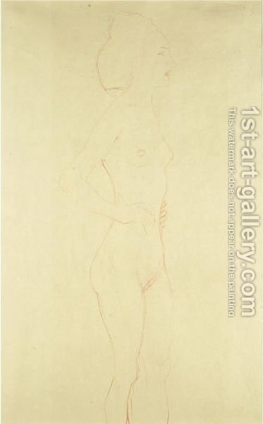 Female Standing Nude by Gustav Klimt - Reproduction Oil Painting