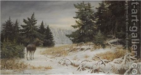 Elk In A Winter Landscape by Aleksi Stepanovich Stepanov - Reproduction Oil Painting