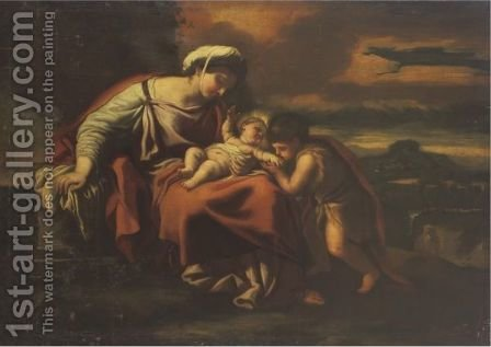 Madonna And Child With St. John The Baptist by (after) Luca Giordano - Reproduction Oil Painting