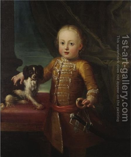 Portrait Of A Boy With His Dog by (after) Giuseppe Bonito - Reproduction Oil Painting