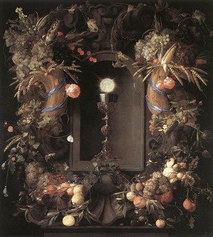 Jan Davidsz. De Heem reproductions - Eucharist in Fruit Wreath 1648