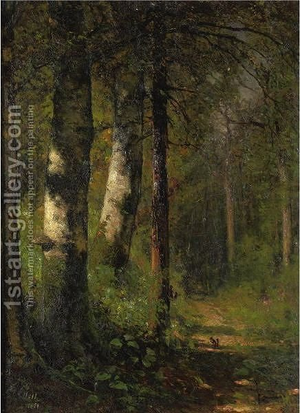Squirrels In The Woods by (after) Thomas Hill - Reproduction Oil Painting