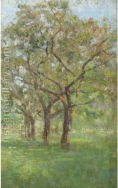 Apple Trees In The Orchard At Jupille by Ivan Pavlovich Pokhitonov - Reproduction Oil Painting