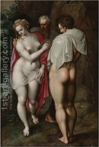 Adam And Eve by Jacob De Backer - Reproduction Oil Painting
