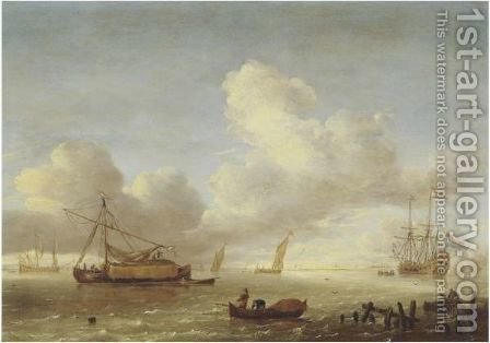 Ships In An Estuary With Fishermen And A Jetty In The Foreground by Hieronymus Van Diest - Reproduction Oil Painting