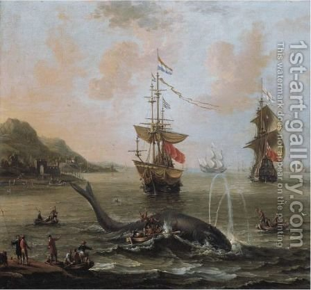Whaling In An Estuary by (after) Petrus Van Der Velden - Reproduction Oil Painting