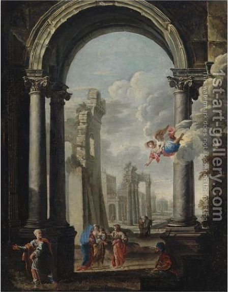 Architectural Capriccio With The Holy Family by (after) Viviano Codazzi - Reproduction Oil Painting