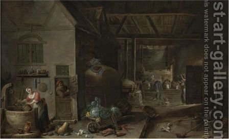 Interior Of A Farmhouse With Figures And Animals by (after) David The Younger Teniers - Reproduction Oil Painting