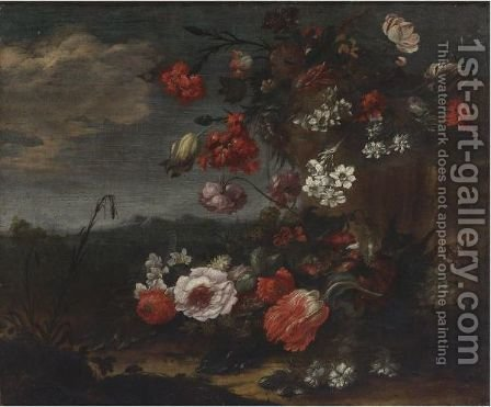 Still Life Of Roses, Tulips, Narcissus And Other Flowers In A Landscape by (after) Bartolomeo Ligozzi - Reproduction Oil Painting
