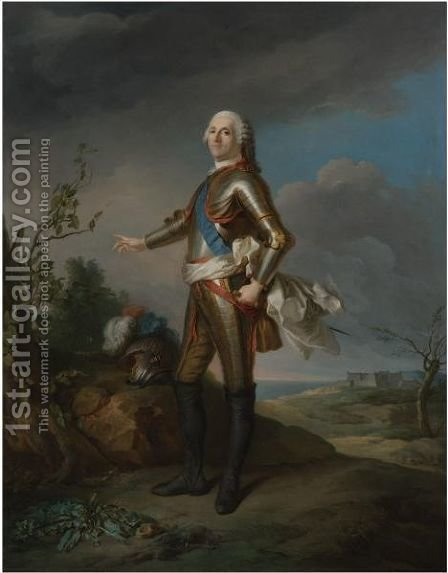 Portrait Of The Duc De Richelieu (March 13, 1696 - August 8, 1788), Marechal De France, Full-Length by (after) Jean-Marc Nattier - Reproduction Oil Painting