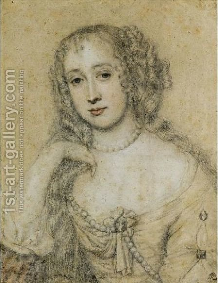Portrait Of A Lady, Traditionally Identified As Nell Gwyn by (after) Sir Peter Lely - Reproduction Oil Painting