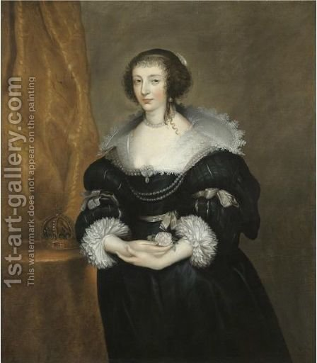 Portrait Of Queen Henrietta Maria 2 by (after) Dyck, Sir Anthony van - Reproduction Oil Painting