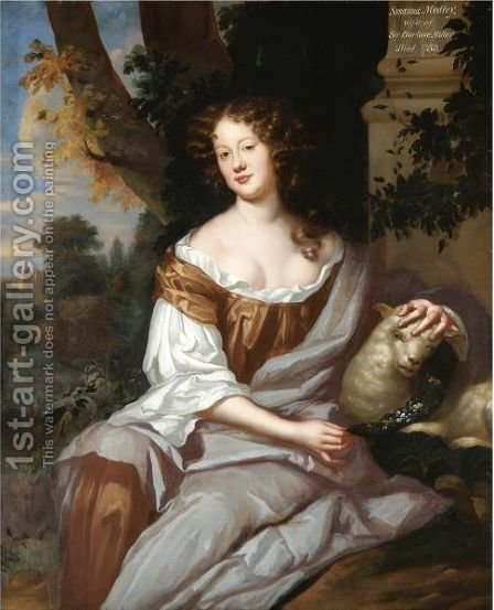 Portrait Of A Lady, Said To Be Susannah Medley, Lady Miller by (after) Sir Peter Lely - Reproduction Oil Painting
