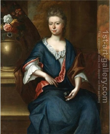 Portrait Of Maria Harwood, Daughter Of John Harwood by (after) John Riley - Reproduction Oil Painting