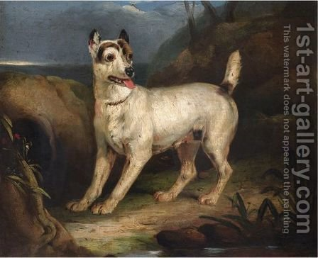 Portrait Of A Terrier In A Landscape by (after) Henry Bernard Chalon - Reproduction Oil Painting