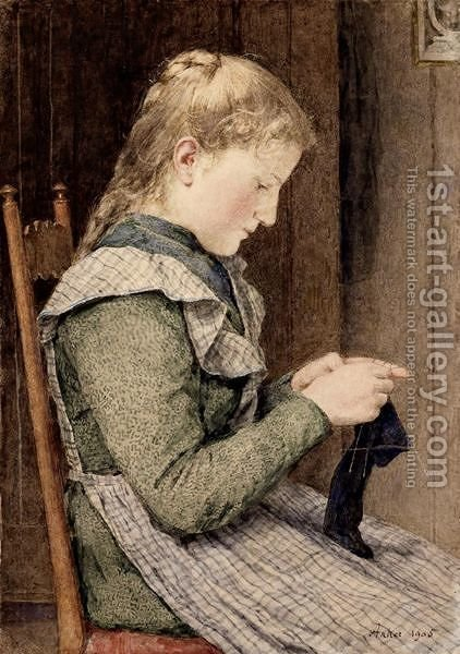Girl Knitting, 1905 by Albert Anker - Reproduction Oil Painting