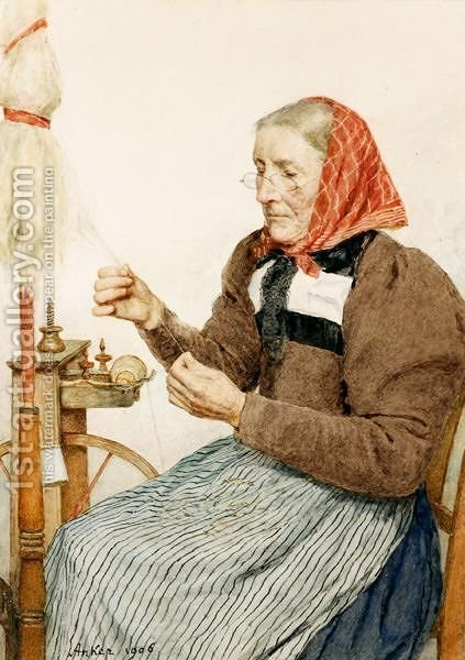 Grandmother Spinning, 1906 by Albert Anker - Reproduction Oil Painting